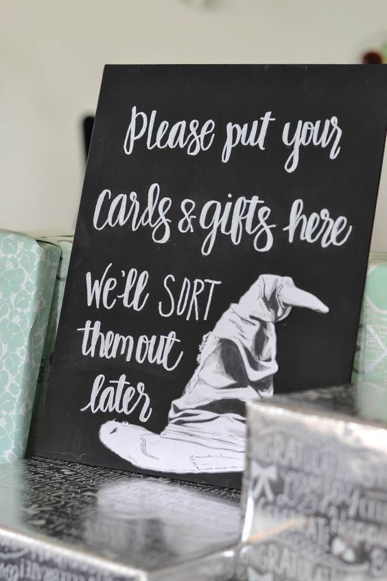 Planning a Harry Potter themed wedding? This adorable Sorting Hat sign will let guests know where to leave their presents.