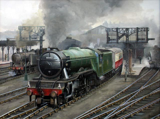 Flying Scotsman 60103 departs Leeds Central with a London bound express in 1957 - David French