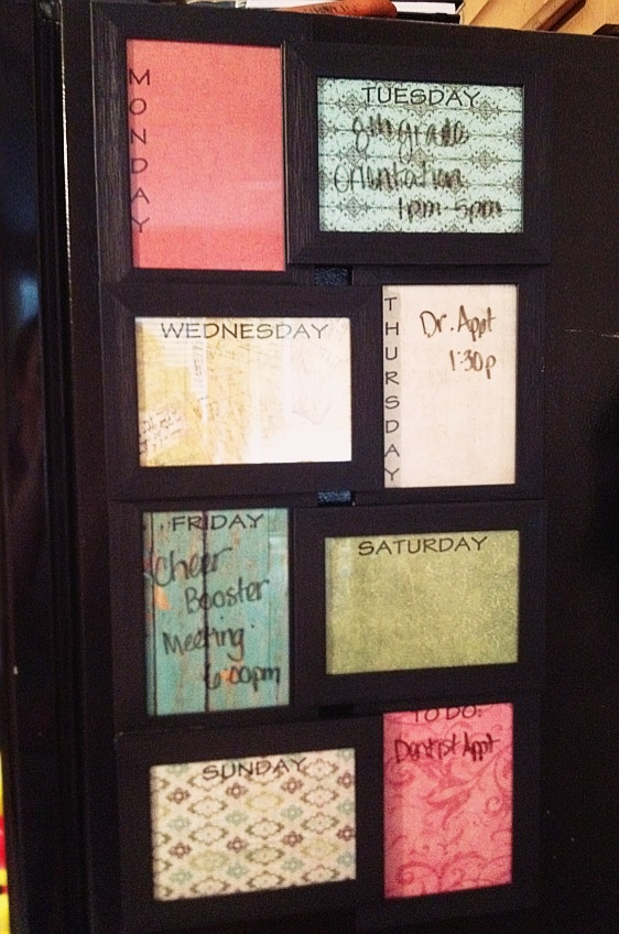 Schedule board.. 5x7 Dollar Store Frames and Scrapbook paper!! LOVE IT! Inspired by Dorm Rooms & Decor