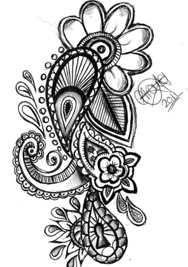 Paisley Tattoo Design. thinking of adding something similar to my right arm