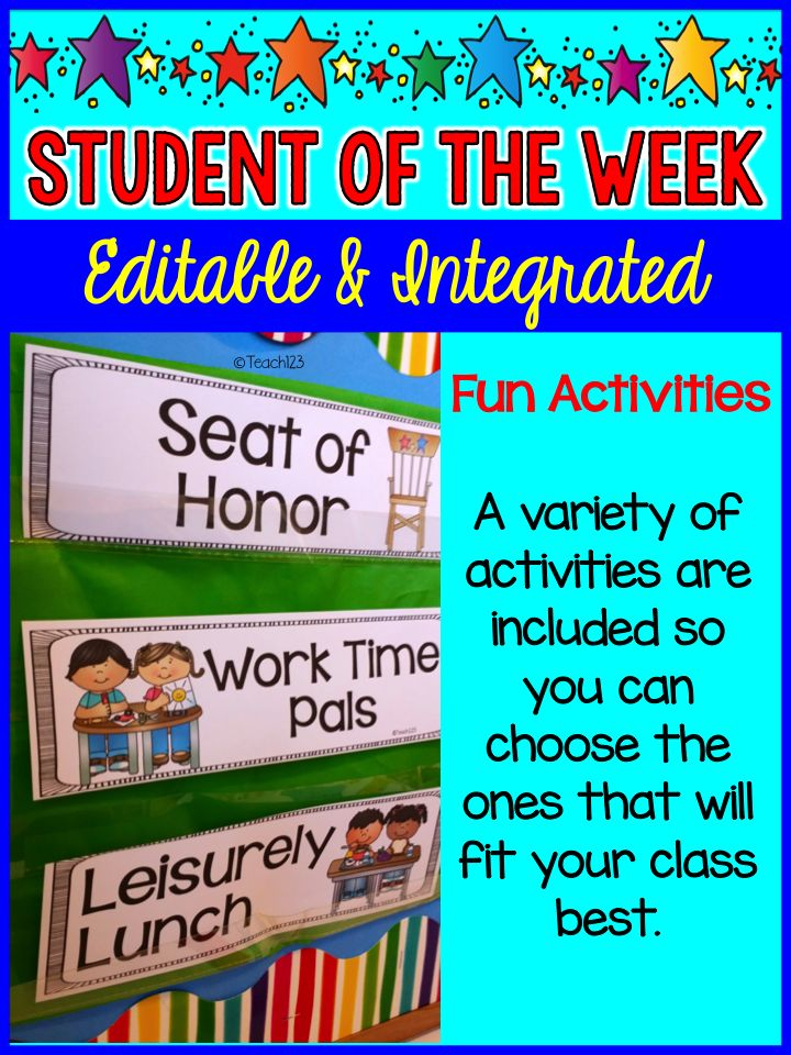 Editable & Integrated: Star Student - Student of the Week:  variety of activities that will help students feel special. paid