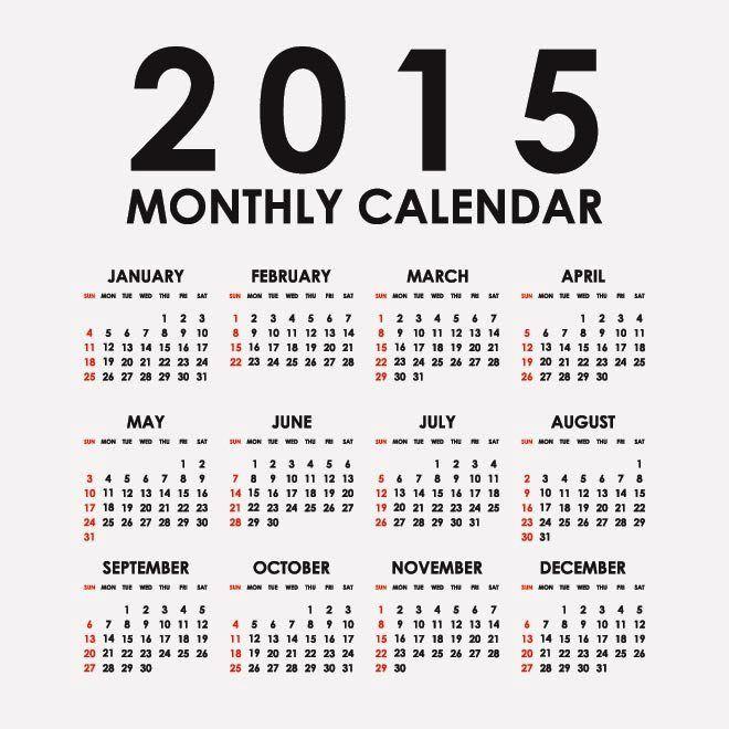 Vector 2015 kalender bulanan Kalender 2015 Desain Unik Jpg Cetak dan Template Download