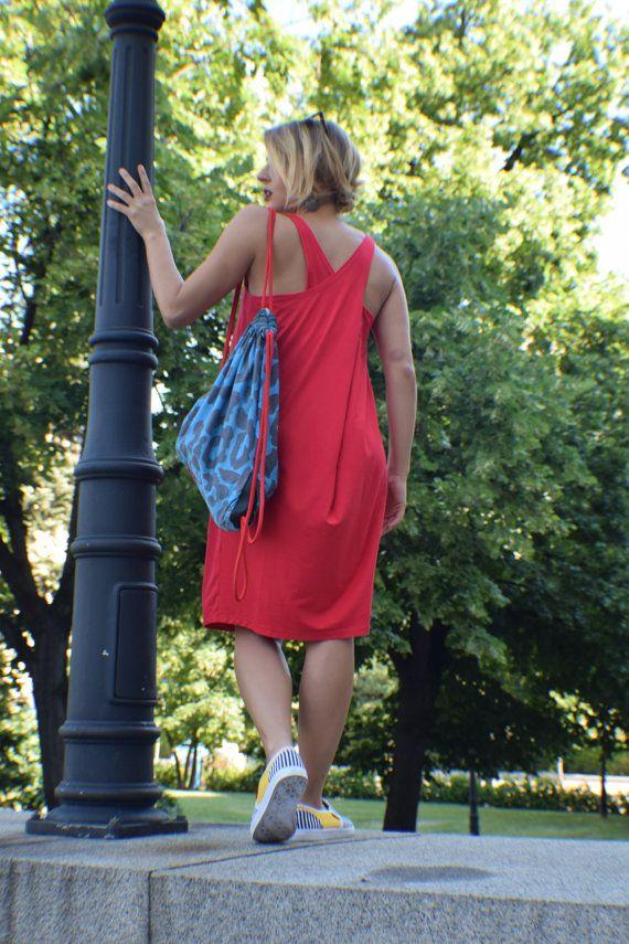 Womens rode jurk rode tuniek jurk zonder mouwen jurk rode