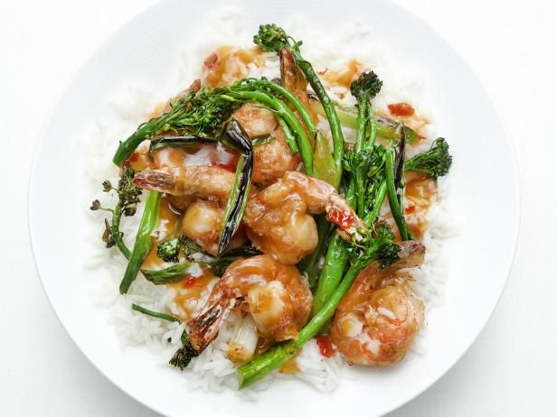 Get General Tso's Shrimp with Broccolini Recipe from Food Network