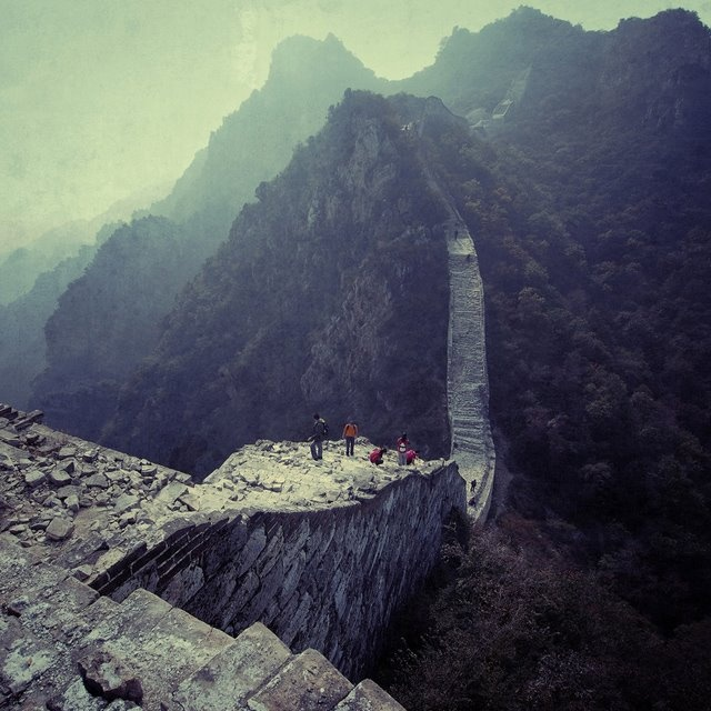 The great wall of China. ermmm where's the wall? this section of it looks damn treacherous.