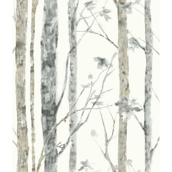Roommates 28 18 Sq Ft Birch Trees Peel And Stick Wallpaper Rmk9047wp The Home Depot Birch Tree Wallpaper Tree Wallpaper Peel And Stick Wallpaper