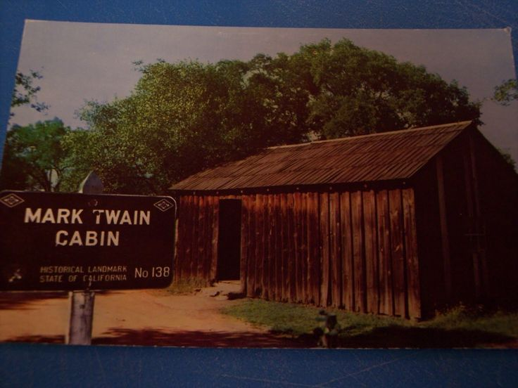 An old color postcard showing Samuel Clemens's cabin near Columbia - visited by Katie & Jack in Brighter than Gold.