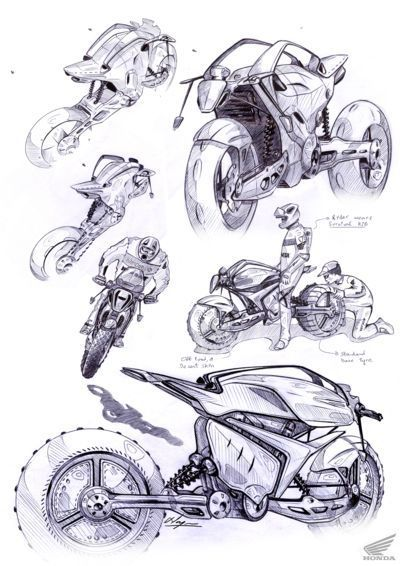 Found these awesome Honda motorcycle sketches by Narayan Subramaniam. Happy Friday!