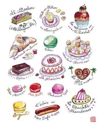 Paris kawaii pastries, Kitchen art, Cute french cake print, food illustration poster, Parisian home decor on Etsy, $19.00