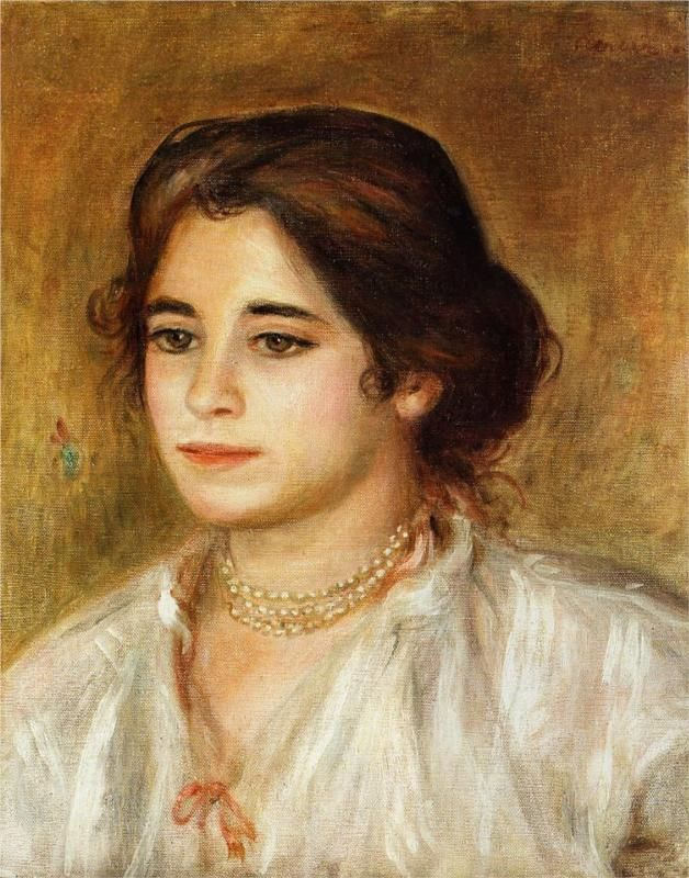 Pierre-Auguste Renoir (French 1841–1919) [Impressionism] Gabrielle Wearing a Necklace, 1906. Private Collection.