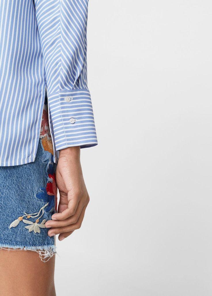 Струящаяся блузка в полоску   MANGO МАНГО