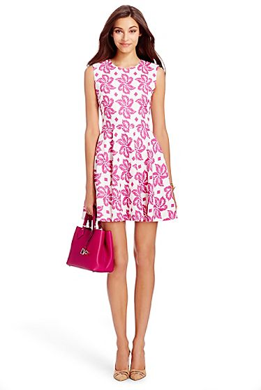 Jeannie Cotton Fit and Flare Dress In Giant Leaf Floral Pink