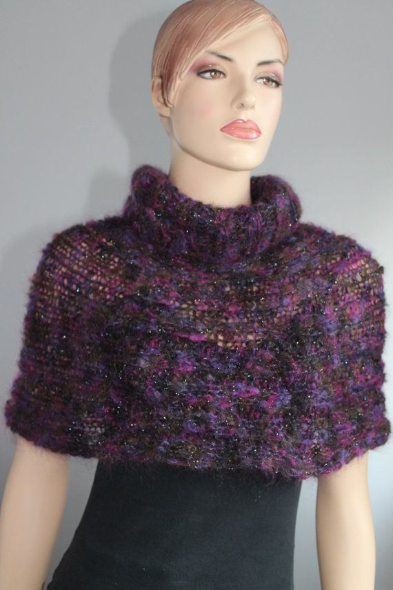 Hand Knitted Purple Capelet Shrug Sweater Poncho Holiday