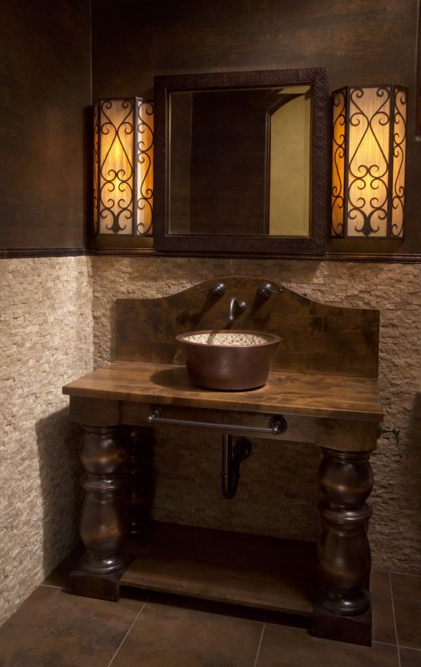 Great Vanity With Copper Bucket Sink And Wall Mount Faucet.