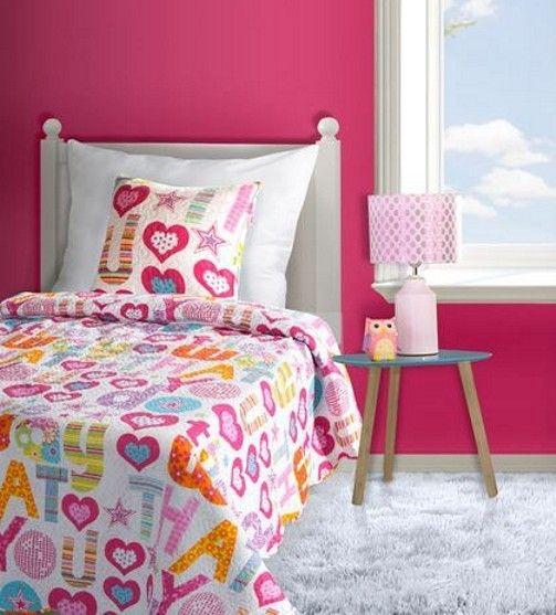 Dětský přehoz na postel GABBY - růžová srdíčka, 170x210cm, jednolůžkový | Internetový obchod Chci POVLEČENÍ.cz