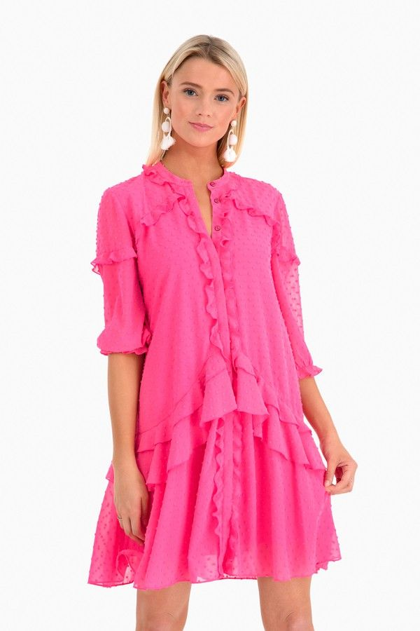 ca710972d2b Pink Tilly Ruffle Dress in Pink by Saloni - Tnuck