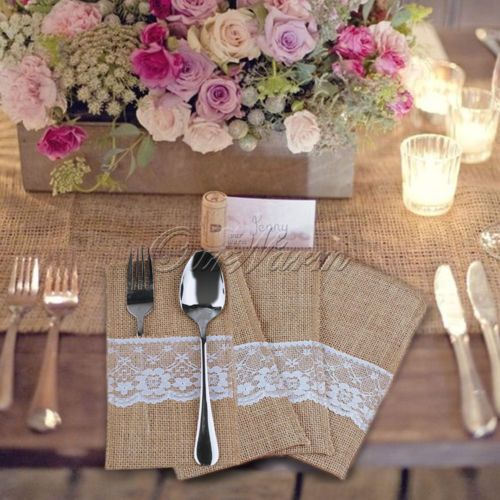 50 Hessian Burlap Lace Cutlery Holder Pouch Bag Wedding Party Flatware Storage | eBay