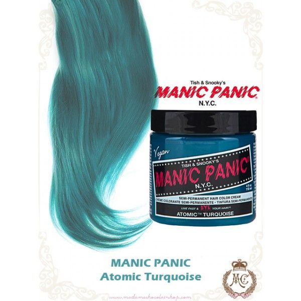 Tinte fantasía semipermanente para el pelo Manic Panic High Voltage CLASSIC, color azul turquesa ATOMIC TURQUOISE, fabricado a base de componentes naturales (ingredientes vegetales veganos) de alta calidad y sin amoniaco.