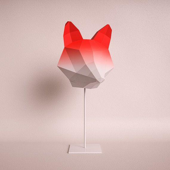 FOX MEDIUM red gradient / do it yourself paper lamp shade