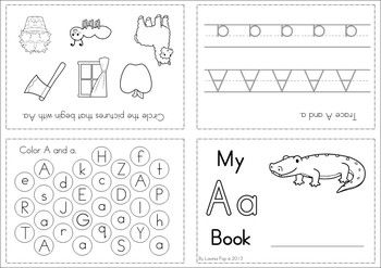 Alphabet / Letter Activity Booklets. These cute foldable mini books focus on letter tracing, letter identification and beginning sounds. Great supplement to a Letter of the Week unit!