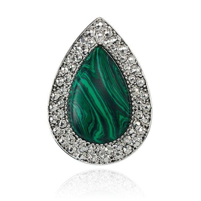SAMANTHA WILLS Bohemian Bardot Ring Malachite Silver