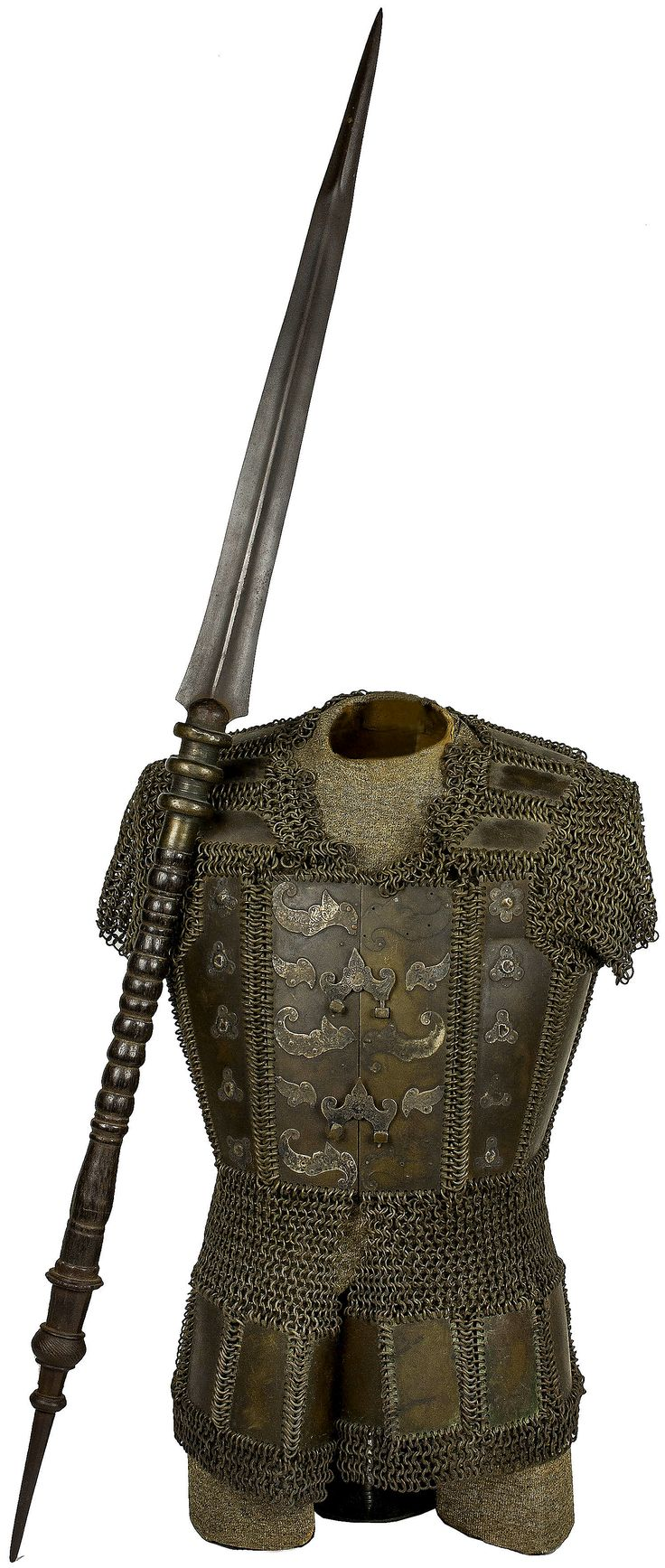 "Moro (Philippine) brass mail and plate cuirass, 19th century,  with Moro Spear, complete with bosses and metal furniture attached to the breastplate with two functional fasteners, back of the cuirass with scaled metal plates. Blade is 23"" and overall length 51.5"". Wood handle trimmed in brass with spiral design."