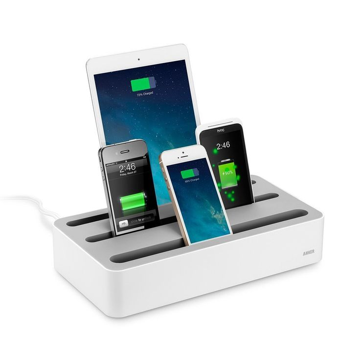 Зарядная станция Anker 5-Device Charging Station + 40W 5-Port USB Desktop Charger (White)
