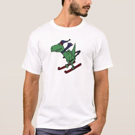 Funny Green Trex Dinosaur Skiing T-Shirt - click to get yours right now!