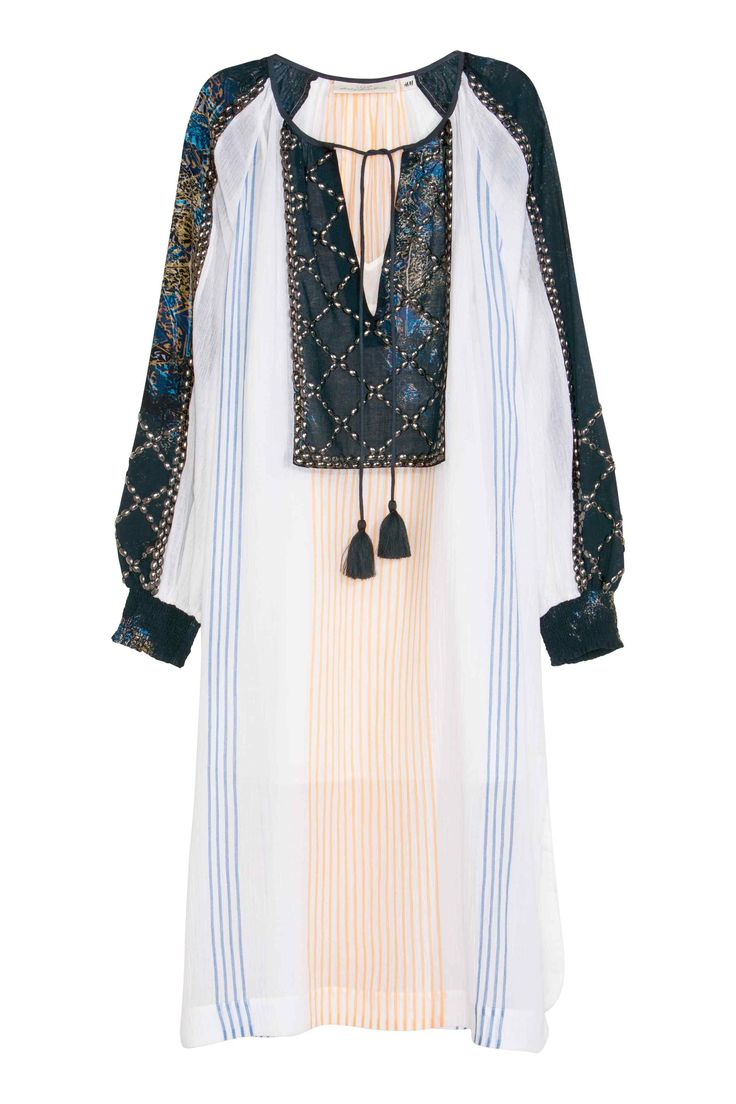 Платье из хлопка с бисером | H&M