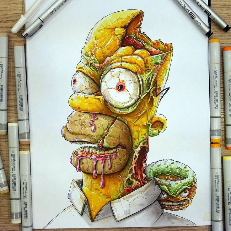 Homer and the Zombie Donut drawing by Tino Valentin