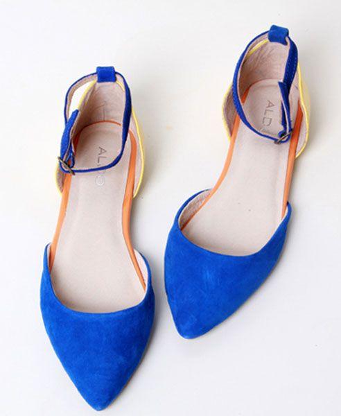 Suede Color Block Point Flat Shoes