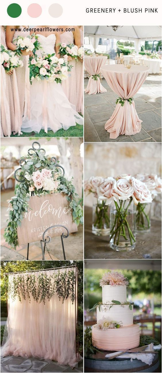 Blush pink and greenery wedding color ideas #weddingideas #weddingcolors #wedding #greenwedding #greenery #weddingtrends #wedding2018 http://www.deerpearlflowers.com/greenery-wedding-color-palettes/ #weddingthemes