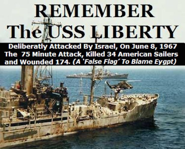On June 8, 1967, Israel attacked the American naval vessel USS Liberty in international waters, and tried to sink it. Description from newsfortherevolution.wordpress.com. I searched for this on bing.com/images