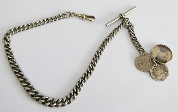 Antique Thick White Metal Watch Chain with T Bar Coins and Silver Military Fob - The Collectors Bag