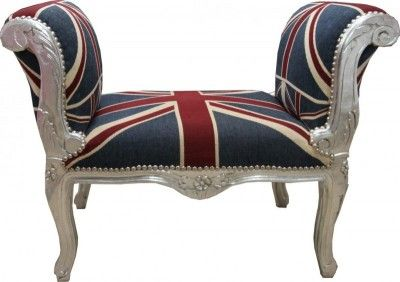 Barock Schemel Hocker im Union Jack UK Chesterfield Vintage Design #casapadrino
