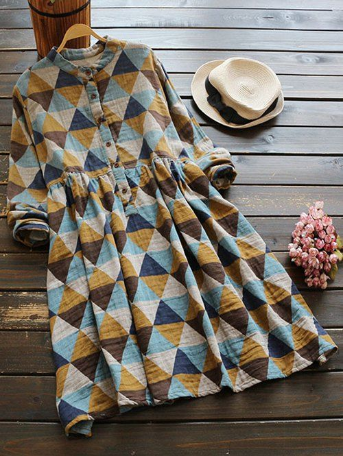 $25.99 Geometric Print Long Sleeves Shirt Dress - COLORMIX ONE SIZE