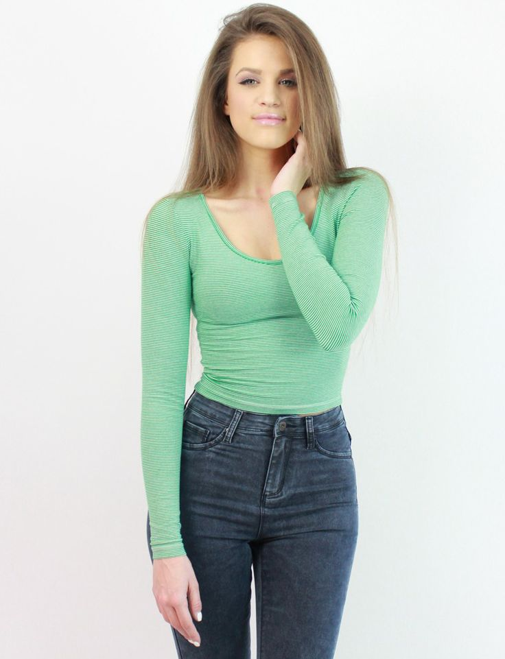 Green Crop Top with Thin Stripes- www.famevogue.ro - look fantastic during the spring season...:)  #croptop #style #fashion #trends #shop