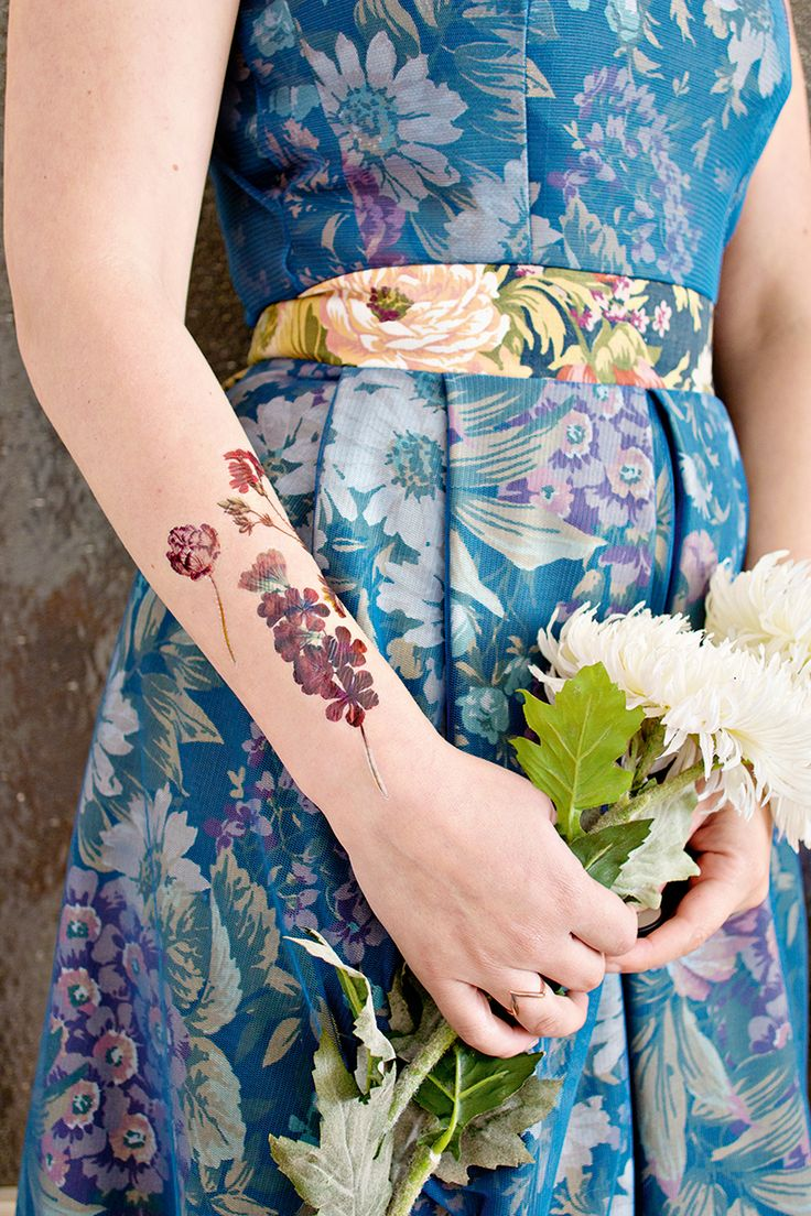 vintage floral tattoo, temporary tattoos, diy tattoo, wrist tattoo, winter floral dress