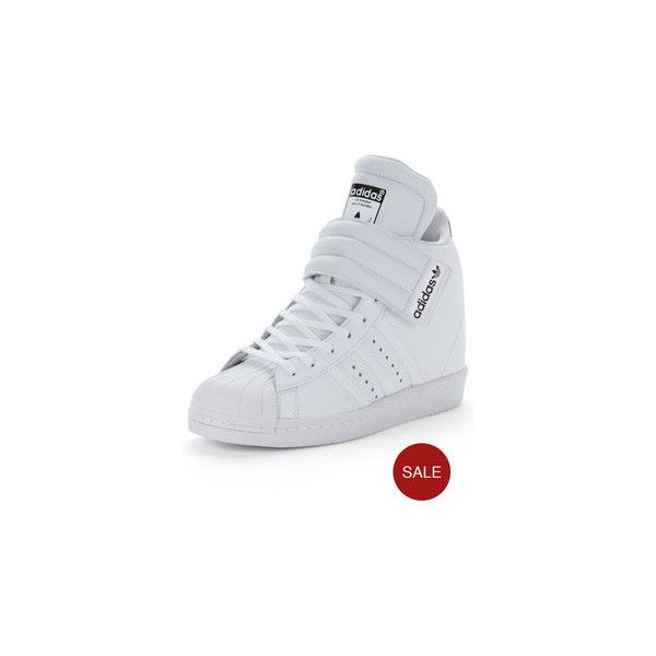 Adidas Originals Superstar Up Strap Trainers (£78) ❤ liked on Polyvore featuring shoes, sneakers, white high top sneakers, wedges shoes, white wedge sneakers, white leather high tops and white wedge shoes