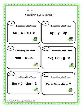 FREE: Combine Like Terms Worksheets- Algebra | Algebra Worksheets ...