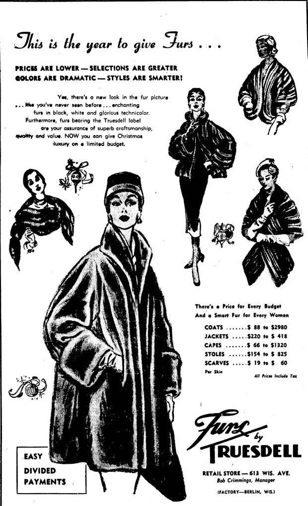 A ad for Furs by Truesdell 613 Wisconsin Ave Racine
