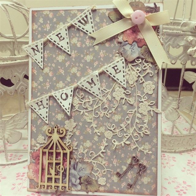 ChrissyBil | docrafts.com Shabby chic style new home card made using Tattered Lace alphabet bunting and blossoming flourish dies