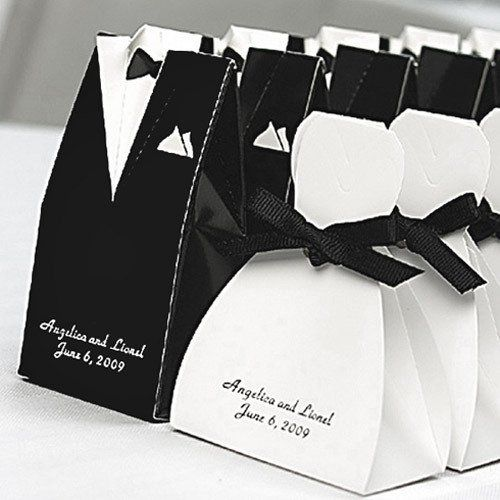 Personalized Tuxedo and Wedding Gown Favor Boxes by Beau-coup