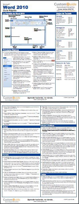 Guías Rápidas ¡GRATIS! Word 2010 (PDF) es.customguide.com