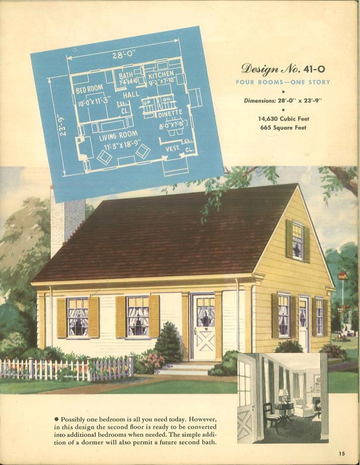 Small Modern Cape Cod House Plan Cathedral Ceiling 1 Car: 1000+ Images About VinTagE HOUSE PlanS~1940s On Pinterest