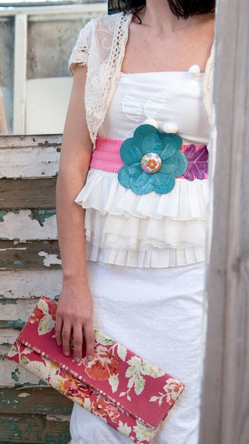 ''margarita'' leather belt and floral cotton fabric clutch!