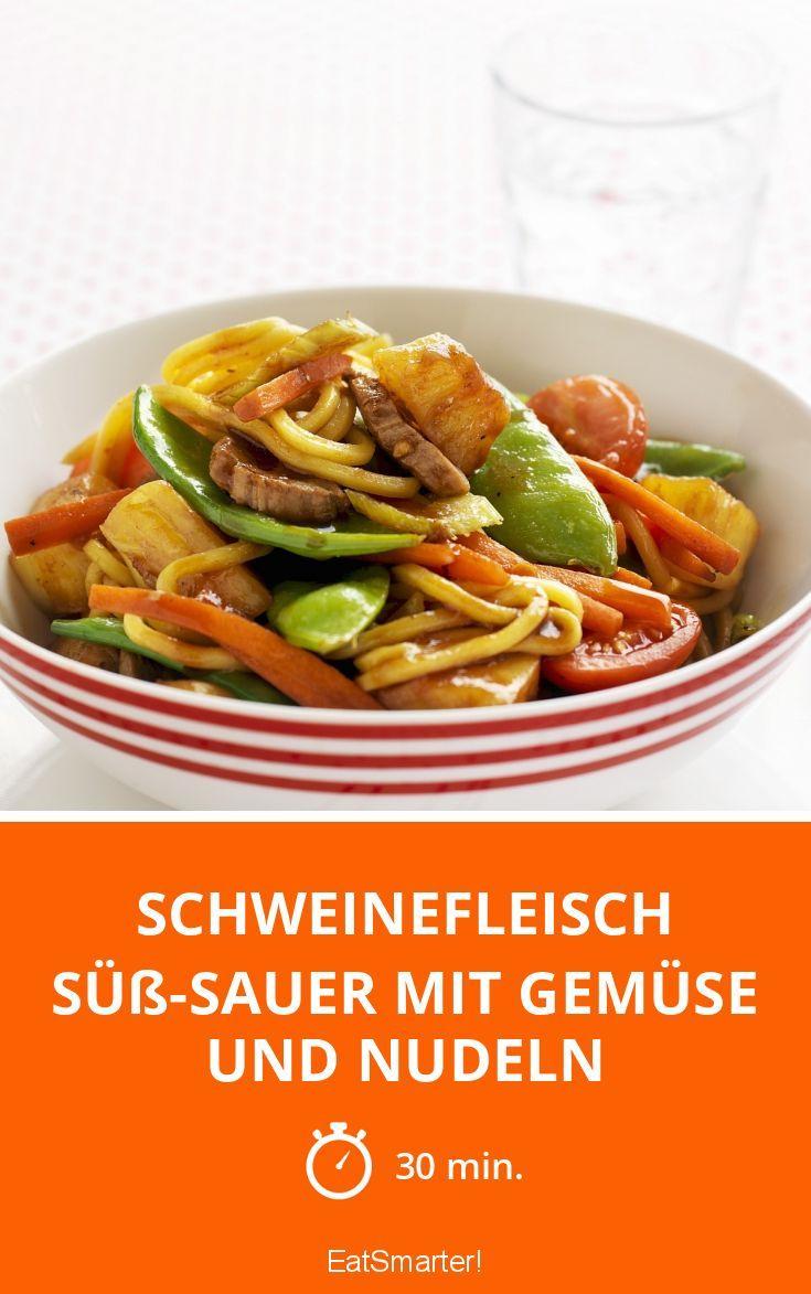 Schweinefleisch süß-sauer mit Gemüse und Nudeln