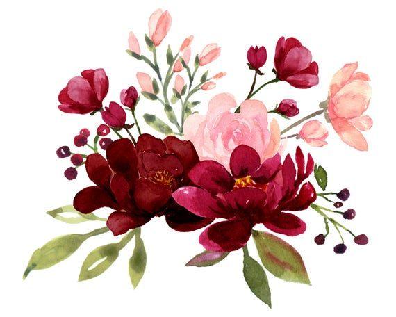 Blush y Borgoña flores acuarela Clipart colección, boda Borgoña, diseños florales pintados a mano flores para invitaciones de boda DIY