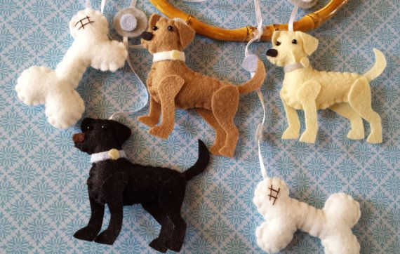 """Baby Mobile - Baby Crib Mobile - Dog Mobile - Nursery Baby Room """"Loveable Labs"""" (You can pick your colors) on Etsy, $60.00"""