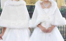 Bride shawl ivory faux fur wedding dress Bolero wrap cape shrug jacket Tippet